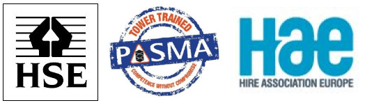 Pasma HSE HAE Trade logos for Ladder hire